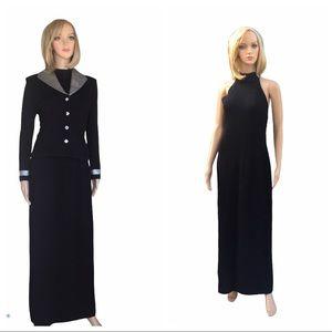 St. John evening black/silver jacket/dress SZ 2/6